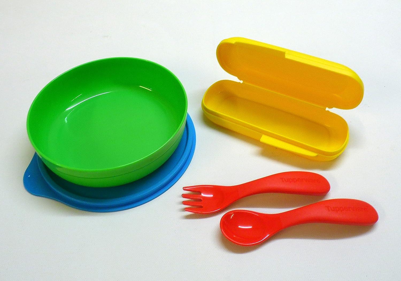 Tupperware Niños Cubiertos + Box Amarillo Rojo con Estuche Bebé Cubiertos + Plato Infantil con tapa 430 ml: Amazon.es: Bebé