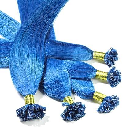 Hair2Heart 25 x 0,5g Extensiones de Queratina - 30cm - Liso, Color Azul