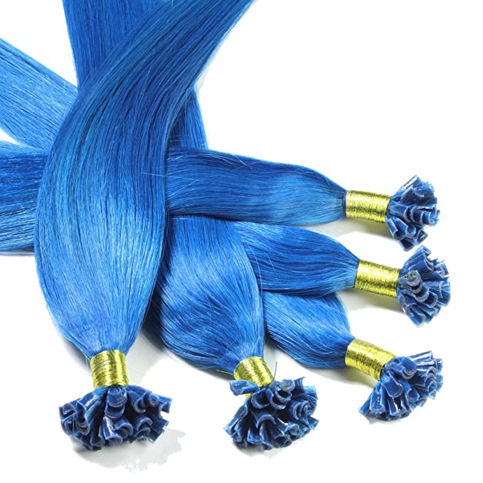 Hair2Heart 200 x 0.5g Extensiones de Queratina - 60cm - Liso, Color Azul: Amazon.es: Belleza