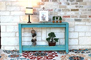 Doug and Cristy Designs Rustic Entry Way Table Turquoise Distressed Reclaimed Wood Beach, Rustic Reclaimed Wood Console Tables, Sofa Tables
