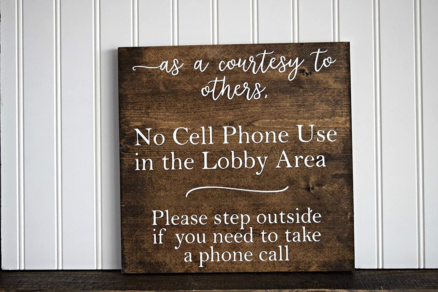 Yilooom As A Courtesy No Cell Phone Use in Lobby Area Sign Office Sign Massage Sign Therapy Sign