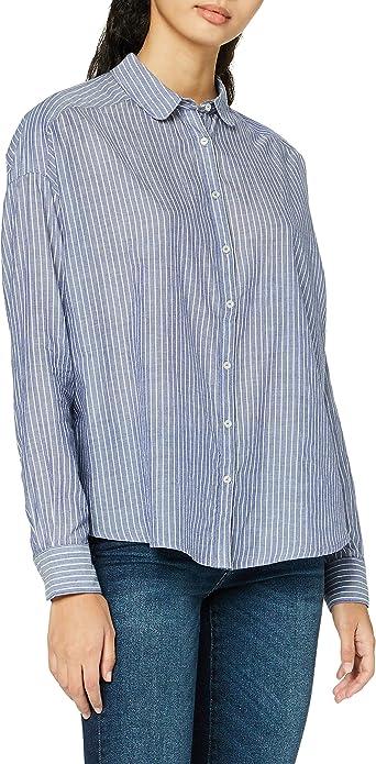 Scotch & Soda Striped Cotton Shirt with Round Collar Blusa para Mujer