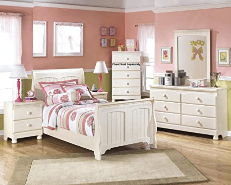 Amazon.com: Cottage Retreat Vintage Casual Sleigh Bed Room ...