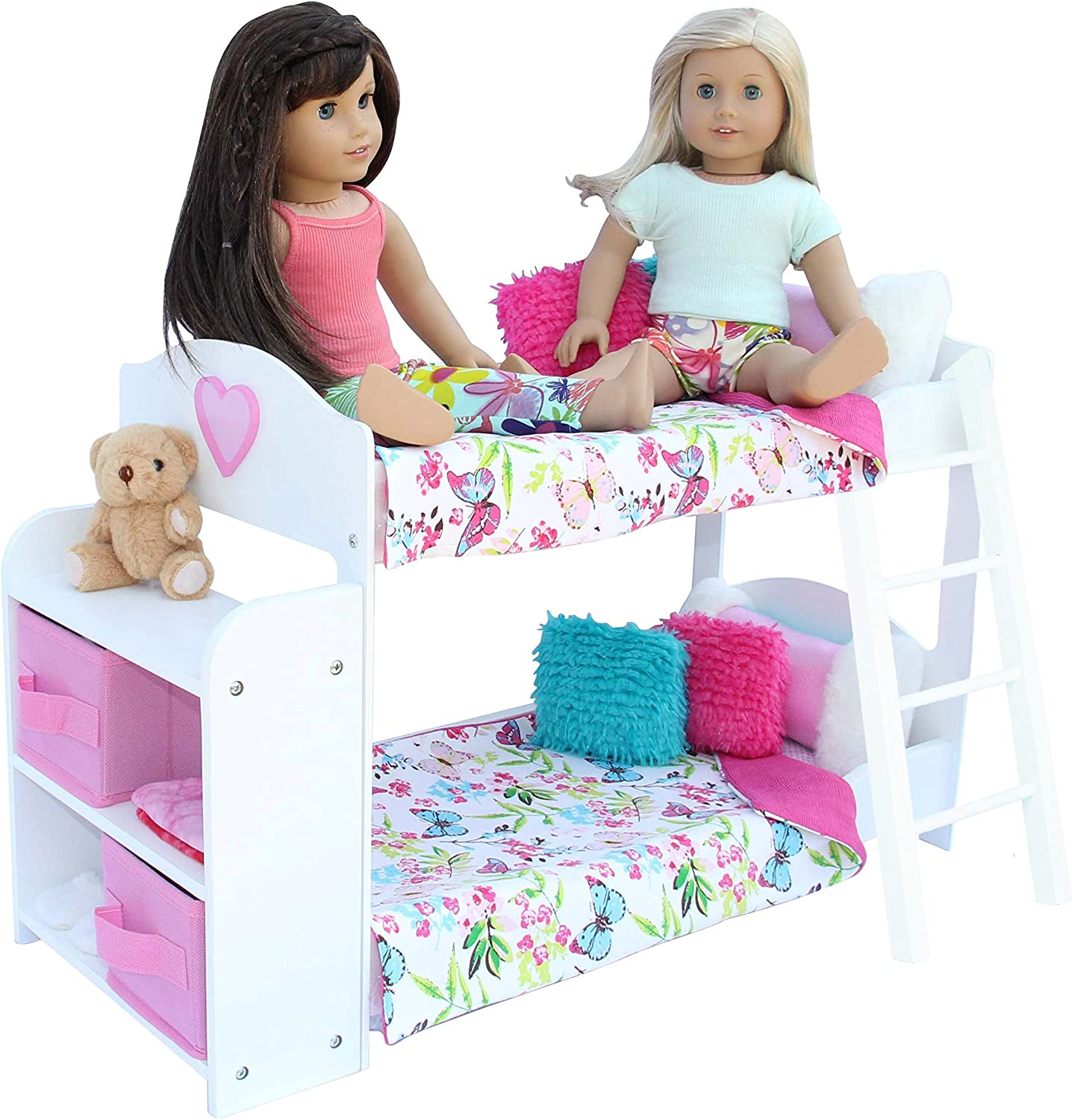 PZAS Toys Doll Bunk Bed - Doll Bunk Bed for 7 Inch Dolls Complete with  Linens, Pajamas, Teddy Bear, and Shelves, Compatible with American Girl  Doll