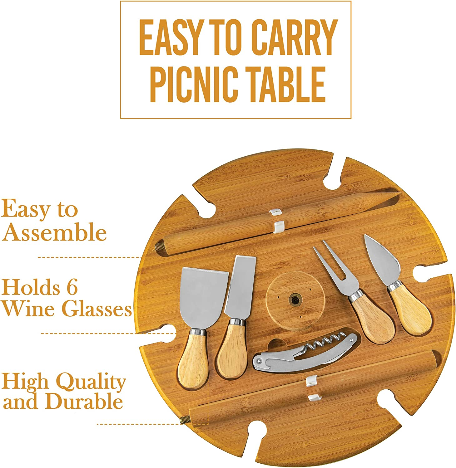 Bambusi Portable Picnic Board with Utensils – 100 Bamboo Outdoor Wine Table Entertaining Camping Cheese Board, Great Gift Idea