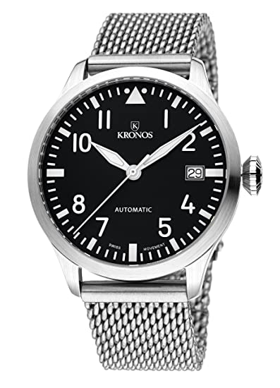 Kronos - Pilot Automatic Black 990.8.55 - Reloj de caballero automático, brazalete de