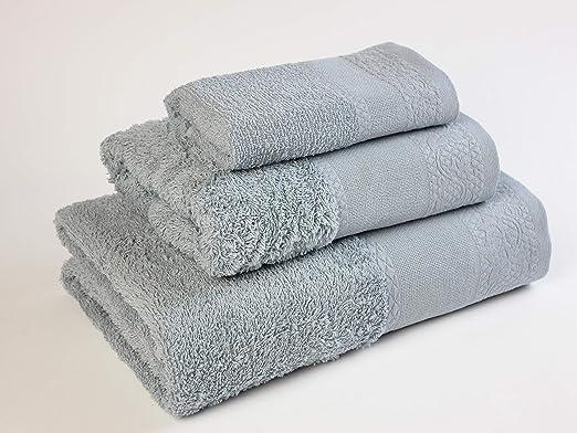 Flor de Algodón Panama Juego de 3 toallas algodón, GRIS MEDIO ...