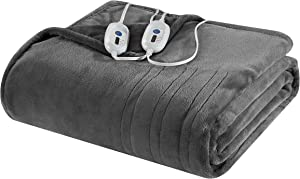"Well Being Plush Electric Heated Blanket with 4 Setting Controller, Grey, King 100""x90"""