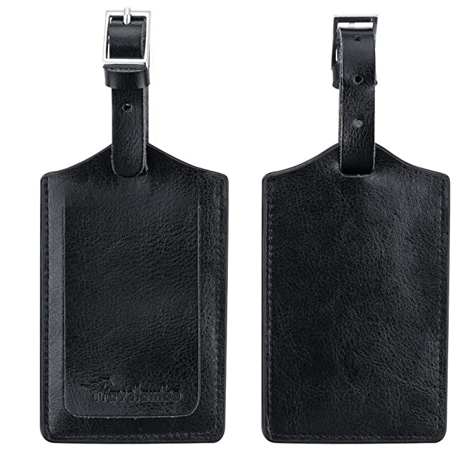 Amazon.com | Travelambo Genuine Leather Luggage Bag Tags (black 2 ...