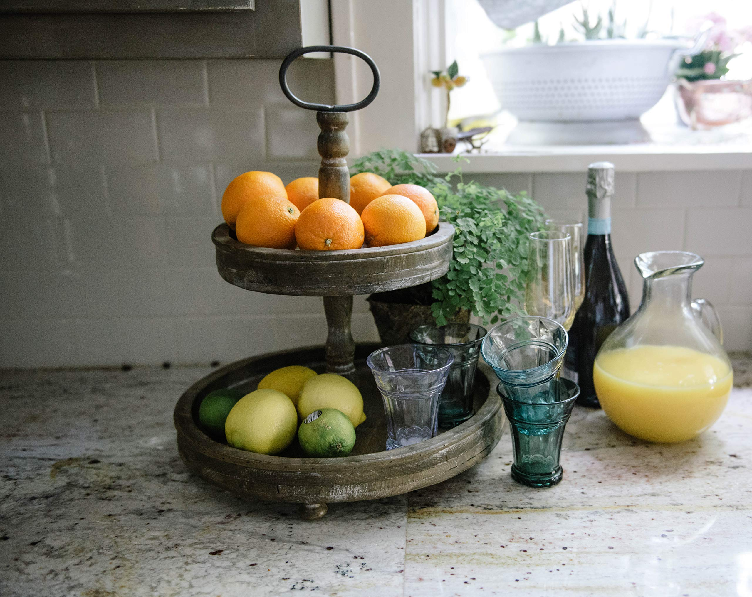 Creative Co-op DA4439 Wood 2-Tier Tray with Metal Handle by Creative Co-op (Image #4)