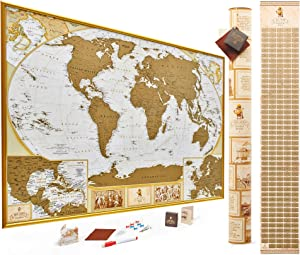 MyMap Antique Scratch Off World Map Wall Poster with US States, 35x25 inches, Includes Pins, Buttons and Scratcher, Glossy Finish, Black with Vibrant Colors