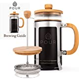 French Press Coffee Maker by Pour, Thick Borosilicate Glass, Bamboo Lid, and Stainless Steel Filter, Eco-Friendly Coffee Brewing – Dishwasher Safe - For Grounds and Loose Tea 36oz./1000M