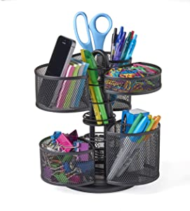 NIFTY Office and Desk Organizing Carousel with Removable Top Baskets, Black (7220)