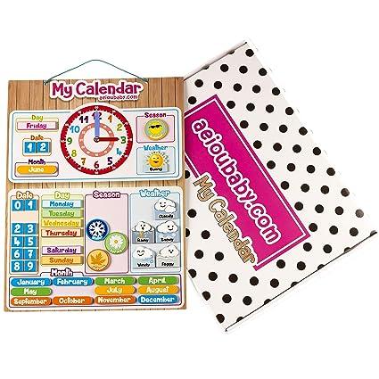 aeioubaby.com Calendario Reloj Magnético Infantil, Juego Educativo Fecha Tiempo y Hora para Pared