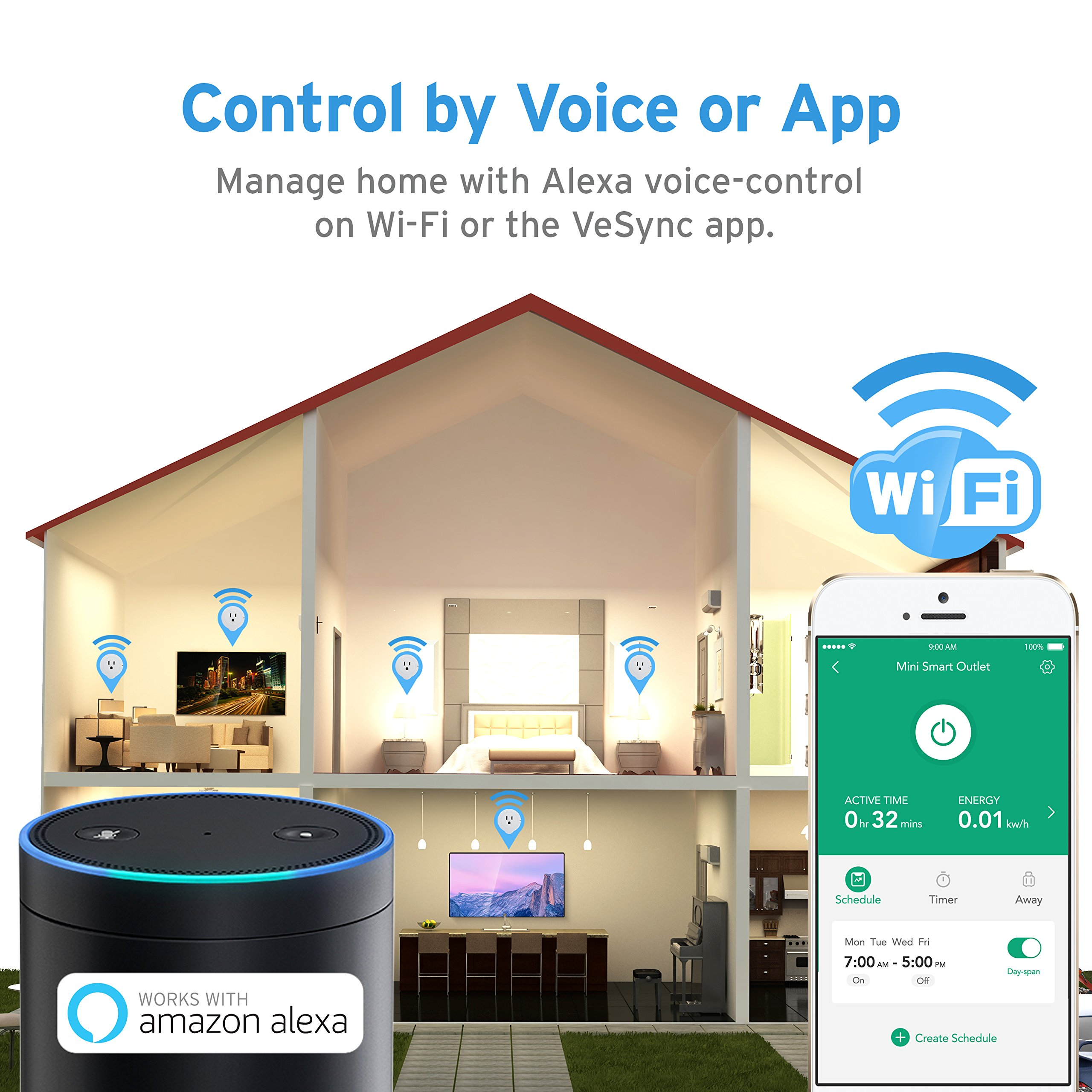 Etekcity WiFi Smart Plug, Voltson Mini Outlet with Energy Monitoring (6-Pack), No Hub Required, ETL Listed, White, Works with Alexa, Google Home and IFTTT by Etekcity (Image #3)