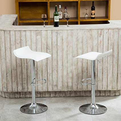 Exceptionnel Roundhill Furniture Contemporary Chrome Air Lift Adjustable Swivel Stools  With White Seat, Set Of 2