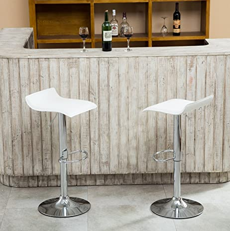 Roundhill Furniture Contemporary Chrome Air Lift Adjustable Swivel Stools  With White Seat, Set Of 2