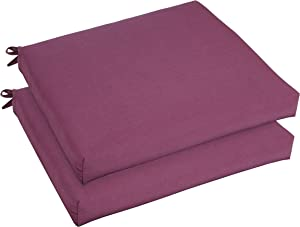 Mozaic AZCS2986 Indoor or Outdoor Sunbrella Square Chair Seat Cushions Set, Set of 2, 19 inches, Canvas Iris Purple
