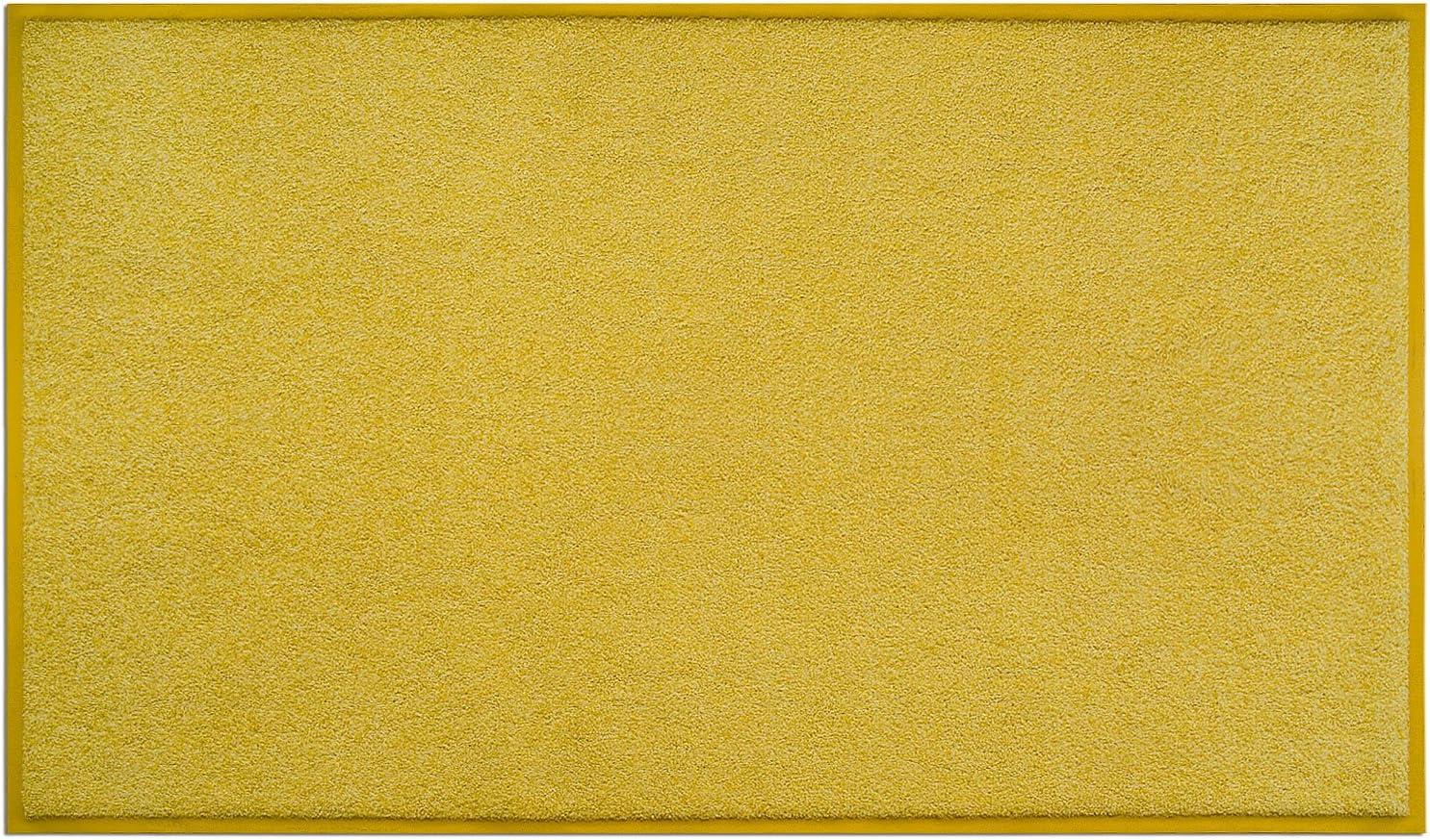 casa pura Dirt Trapper Mat - Doormat with Matching Rubber Edge | Non-slip | Absorbent | Blue, 50 x 85cm Sunshine Yellow