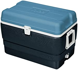Igloo MaxCold Cooler, Jet Carbon/Ice Blue/White, 50 Quart