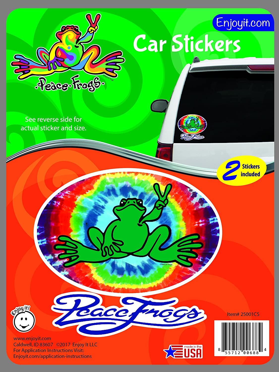 2 pieces Outdoor Rated Vinyl Sticker Decal for Windows Laptops or Crafts Enjoy It Peace Frogs Tie Die Oval Peace Frogs Car Sticker Bumpers