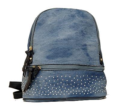 ac3a6f77c9e41 Damen Mädchen Jeans Tasche mit Strass Cityrucksack Mini Rucksack  Schultertasche Umhangtasche Handtasche kleiner Rucksack Stadtrucksack in