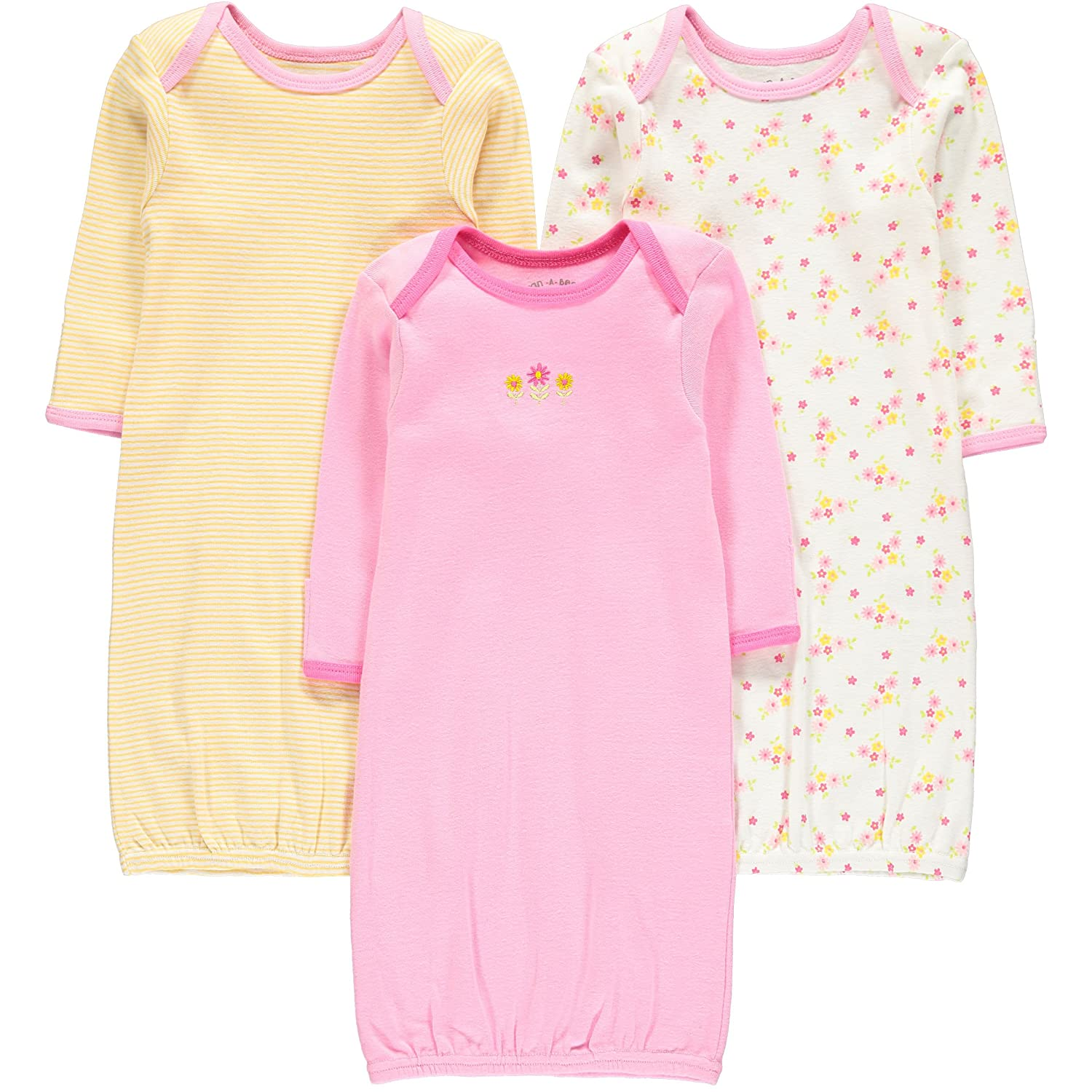 Wan-A-Beez Baby Boys' and Girls' 3 Pack Printed Baby Gowns WGNB0001