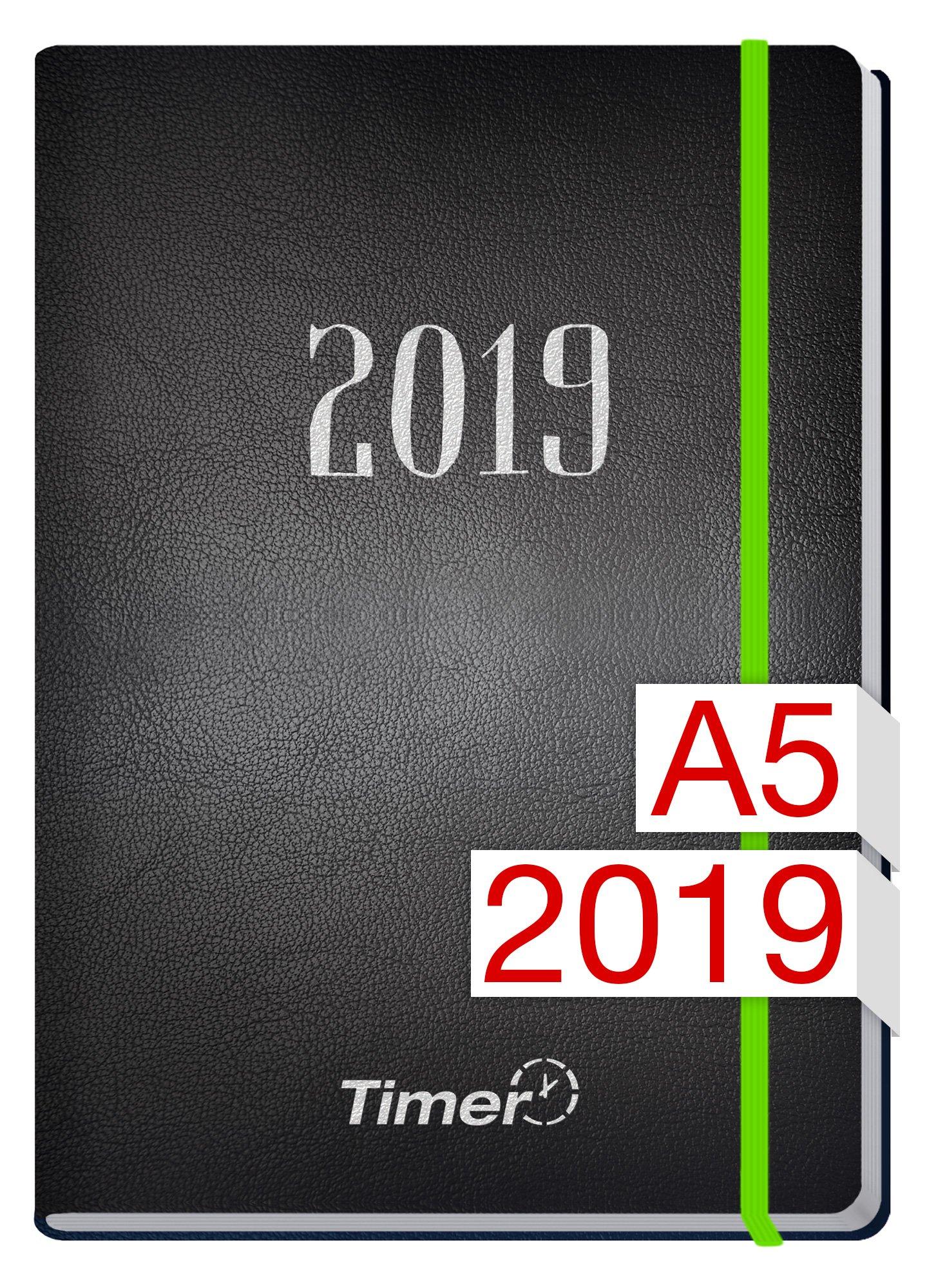 Chäff-Timer Premium A5 Kalender 2019 [Neon Grün] 12 Monate Jan-Dez 2019 - Gummiband, Einstecktasche - Terminkalender mit Wochenplaner - Organizer - Wochenkalender
