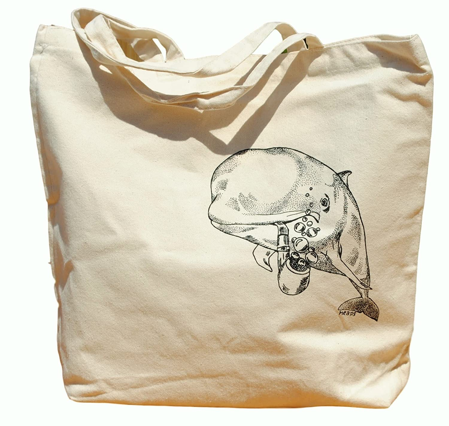 Canvas Tote Bag - Hand Printed Whale with a Pipe - Market Travel Beach Shopper Grocery School