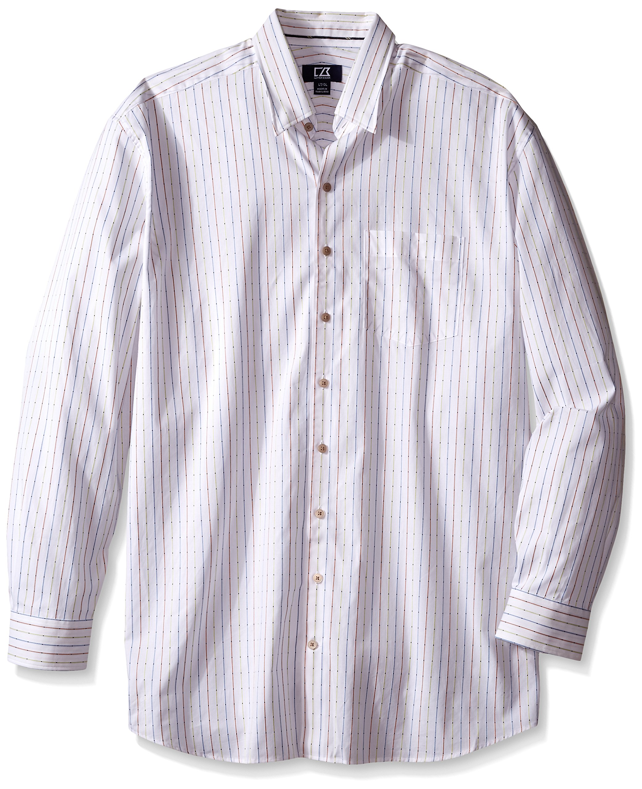 Cutter & Buck Men's Big and Tall Long Sleeve Lantern Stripe Shirt, Multi, 3X/Tall