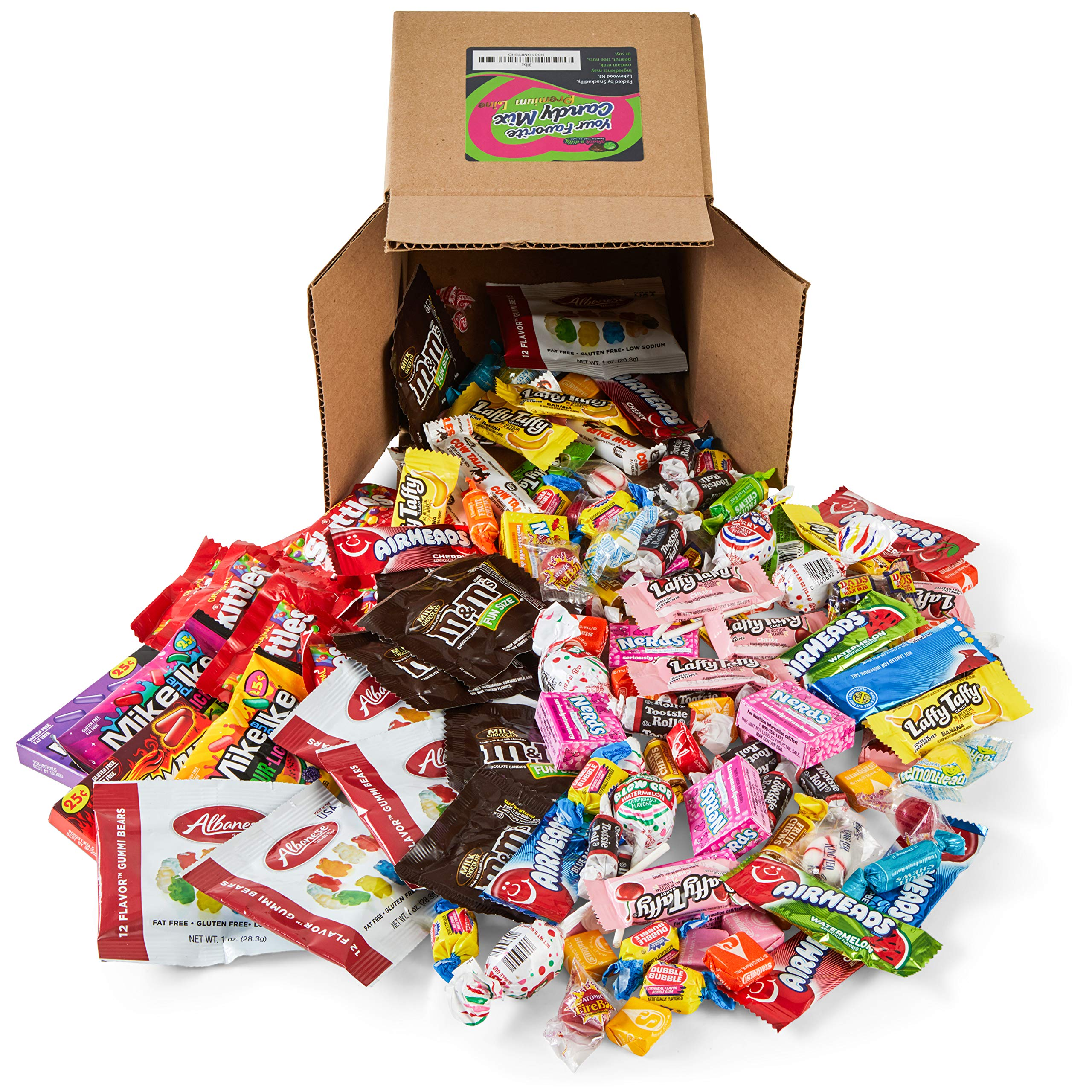 Your Favorite Mix of Premium Candy! 7.5 LB of Gummy Bears, Laffy Taffy, Airheads, Skittles, M&M's, Blow Pop's, Tootsie Rolls, Mike & Ike's, & More. by Snackadilly