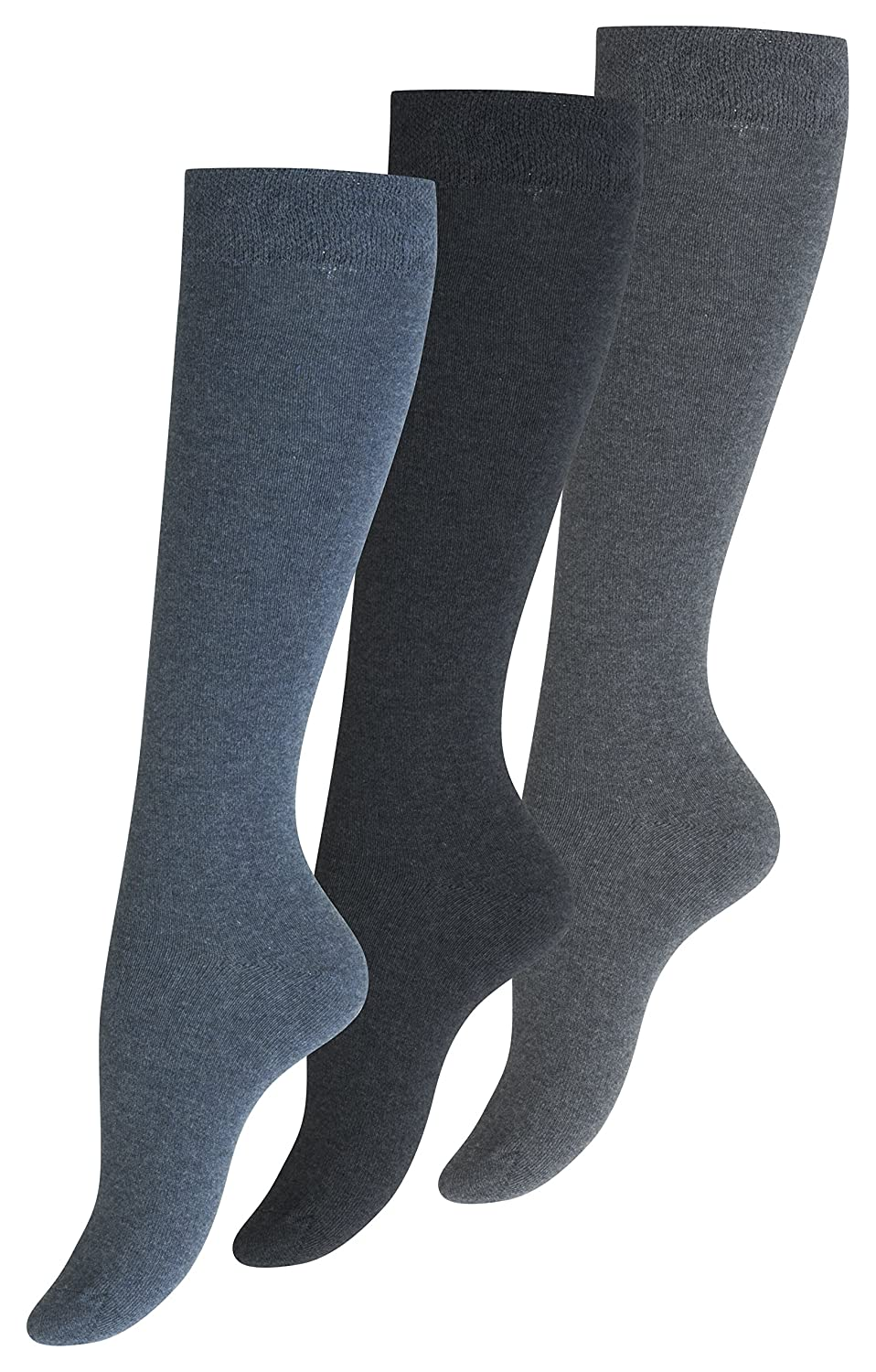 3 Pairs of Womens-Ladies Knee High Socks, Soft Loop Cuff, non elastic, Seamless toes. by VCA®