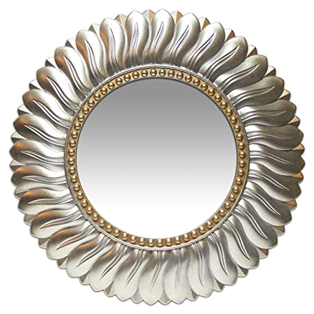 Lulu Decor, Decorative Crystal Metal Vine Wall Mirror, Beveled Mirror, Frame Measures 24 , Mirror Measures 11 , Perfect for Housewarming Gift L72MC