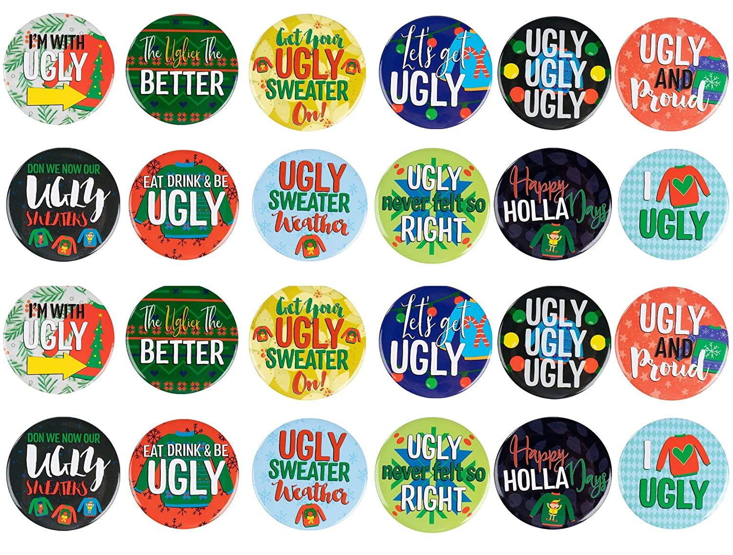 2.25 Inches Diameter Pinback Buttons Ugly Sweater Themed Designs 24-Pack Christmas Round Button Pins in 12 Designs for Kids Party Favors