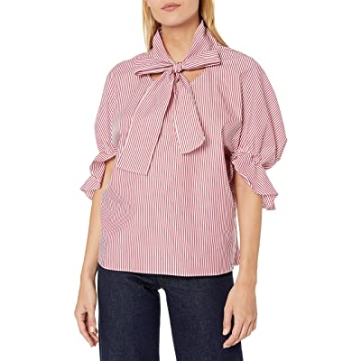 A|X Armani Exchange Women's Tie Neck Blouse with Ruffled Cuff Half Sleeves: Clothing