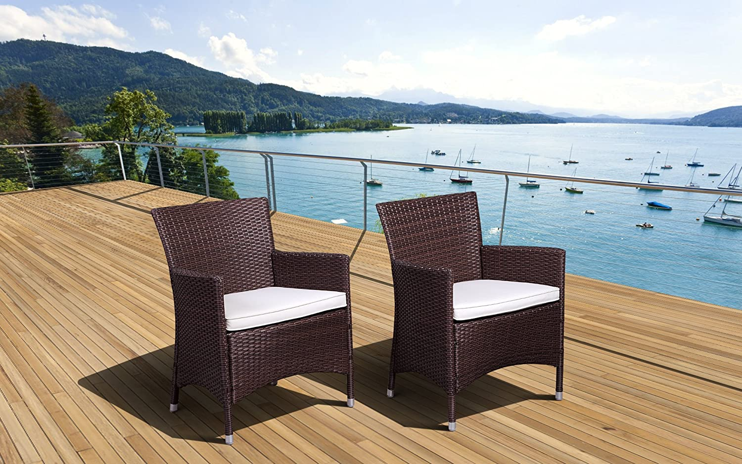 Amazon.com : Atlantic Liberty Deluxe Wicker Armchair, Brown, Set Of 2 :  Patio Dining Chairs : Garden U0026 Outdoor