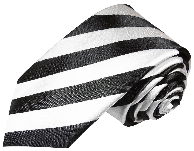 Paul Malone Seidenkrawatten Set 2tlg schmale 6cm Krawatte schwarz weiß gestreift + Einstecktuch (Normallänge & Extralang) 832-Schmal
