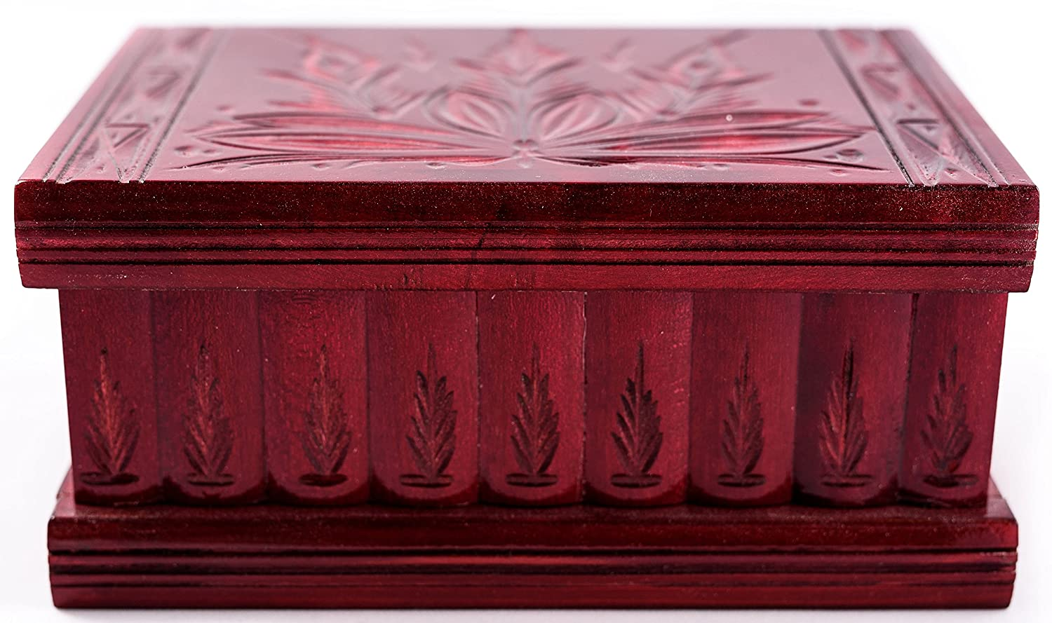 Handmade Wooden Puzzle Boxes with Hidden Compartment (Large) - Top Quality Elegant Box with Easy Open/Closing Mechanism - Decorative Storage Box for Jewelry, Toys, Puzzles - Great Gift All Red