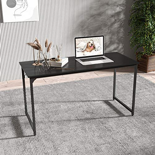 Smile Back Black Table Computer Desk 55.2 Small Desk Modern Simple Style PC Table
