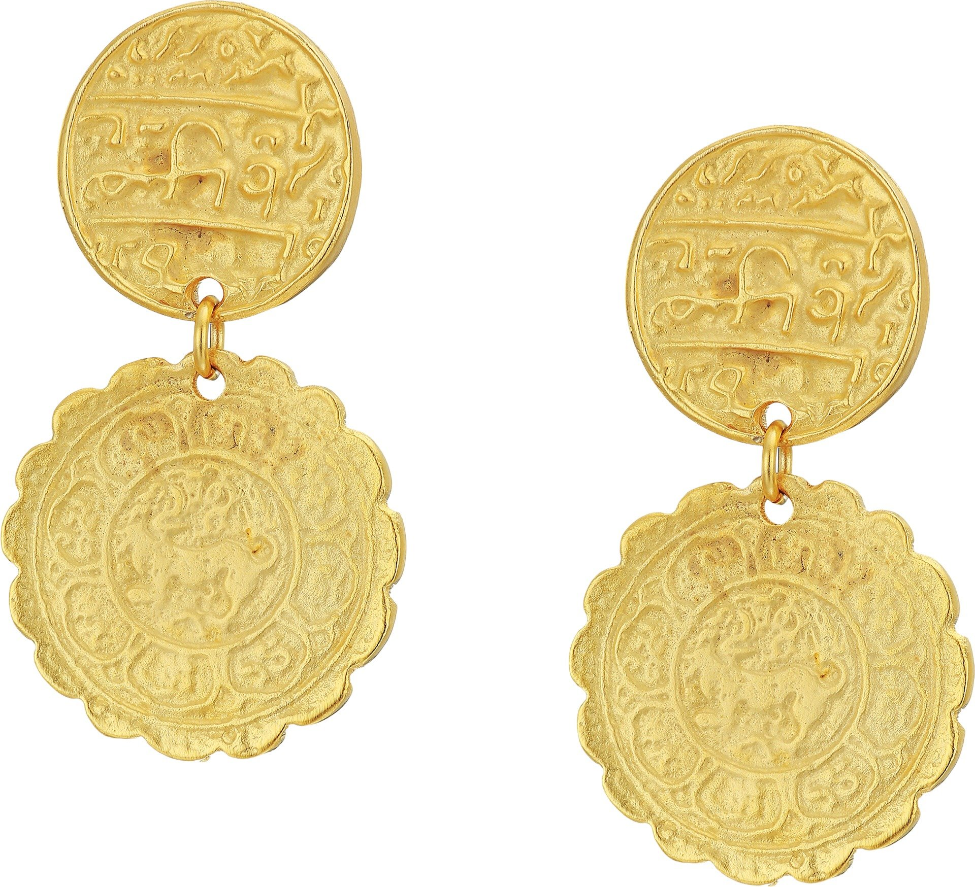 Kenneth Jay Lane Women's Satin Gold Textured Coin Top Drop Pierced Earrings Satin Gold One Size