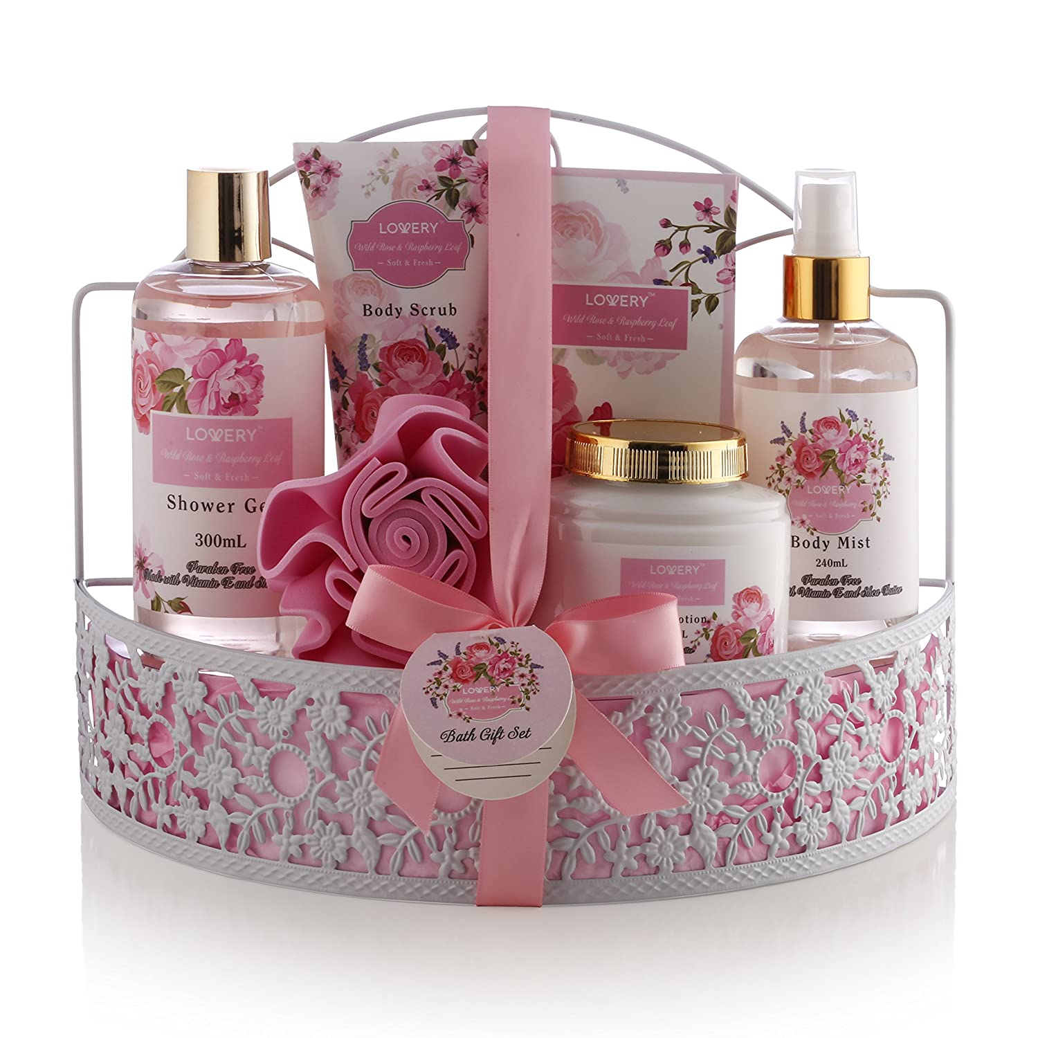 Father's Day Gifts - Spa Gift Basket - Wild Rose & Raspberry Leaf Fragrance - 7 Piece Bath & Body Set For Women, Contains Shower Gel, Lotion, Body Scrub, Bath Salt, Body Mist, Bath Puff & Shower Caddy Lovery