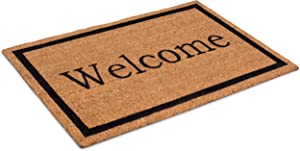 BIRDROCK HOME Welcome Coir Doormat - 24 x 36 Inch - Oversized Welcome Mat with Black Border and Natural Fade - Vinyl Backed - Outdoor