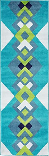 Unique Loom Metro Collection Geometric Squares Abstract Bright Colors Turquoise Runner Rug 2 0 x 6 7