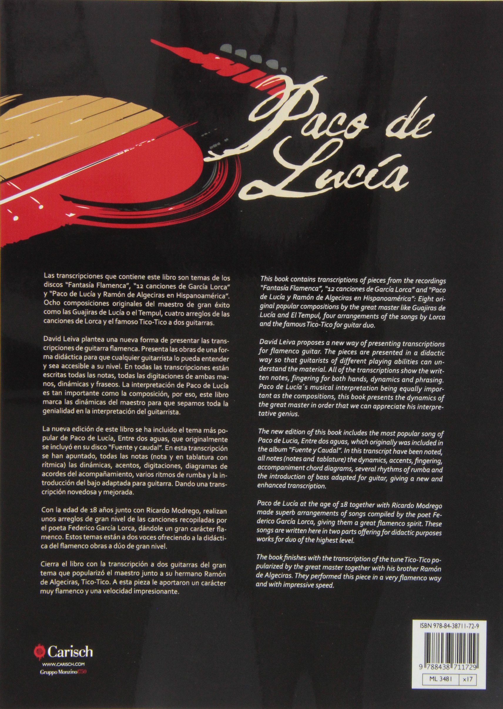 Paco De Lucia: Guitar Tab: Amazon.es: De Lucia, Paco, Guitar, with ...