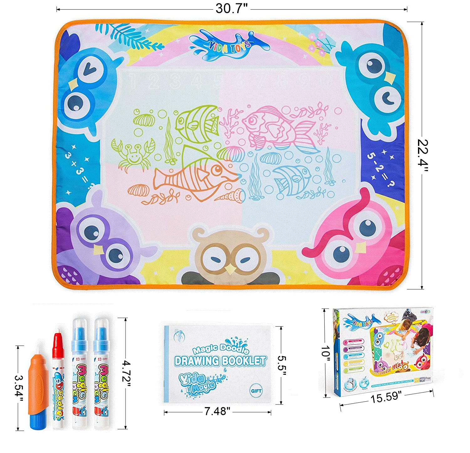 Green, Blue, Orange, Pink Set with Accesories 30.7 by 22.4 Inches Tio Loco Water Drawing Mat Animal Design 4 Different Colors