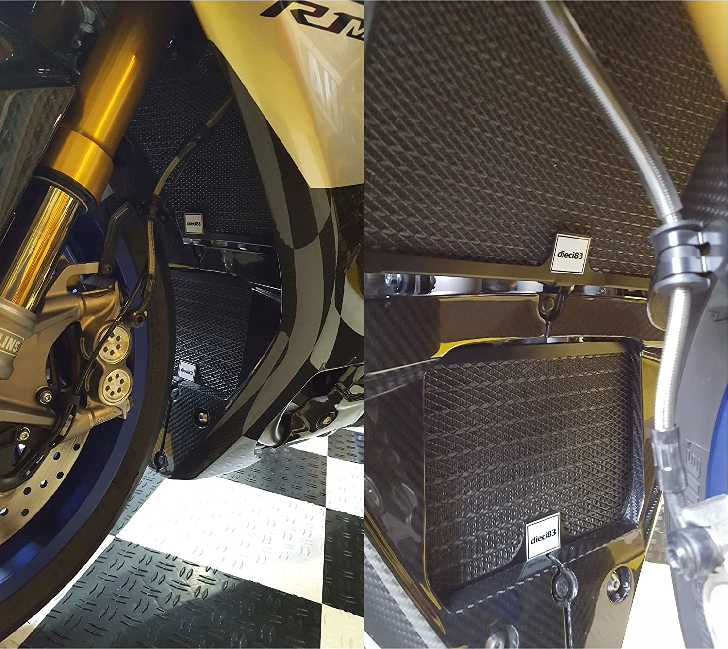 Dieci83 Aluminum Radiator and Oil Cooler Guard Cover Protector Grille for YZF R1 R1S R1M 2015-2018