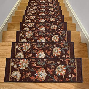 Aucuda Set of 14 Stair Treads Non Slip Indoor Durable Stair Mat Beautiful Floral Design Stair Rugs with Rubber Backing, Brown Floral Design,8.5x26 Inch