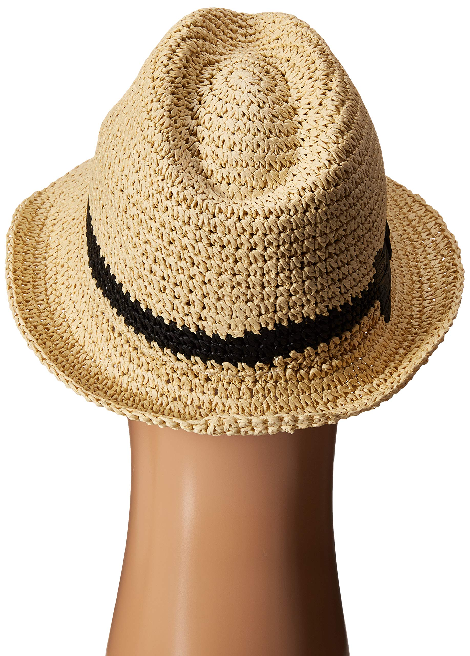 Kate Spade New York Women's Crochet Packable Fedora Natural/Black One Size by Kate Spade New York (Image #3)