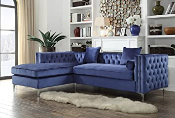 Iconic Home Da Vinci Tufted Silver Trim Navy Blue Velvet Left Facing Sectional Sofa With Silver Tone Metal Y Legs