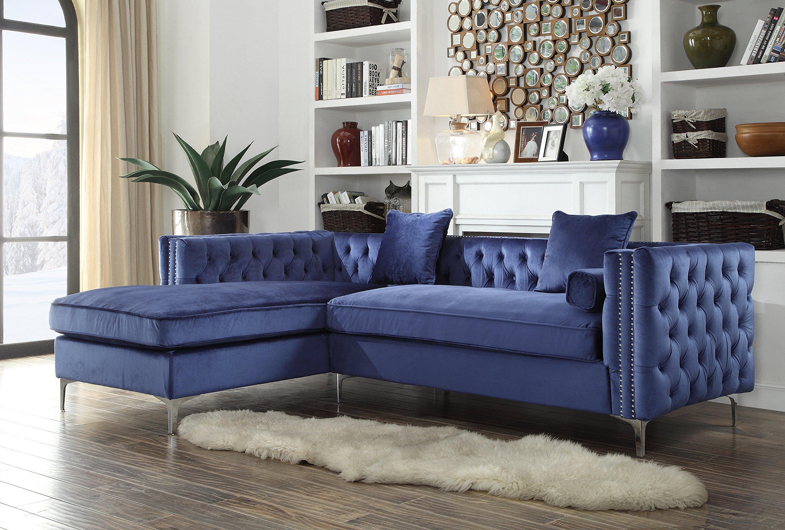 Iconic home da vinci tufted silver trim navy blue velvet left facing sectional sofa silver tone